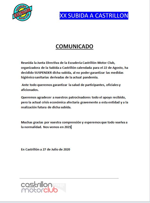 La XX Subida Automovilística a Castrillón (Boal) también se suspende