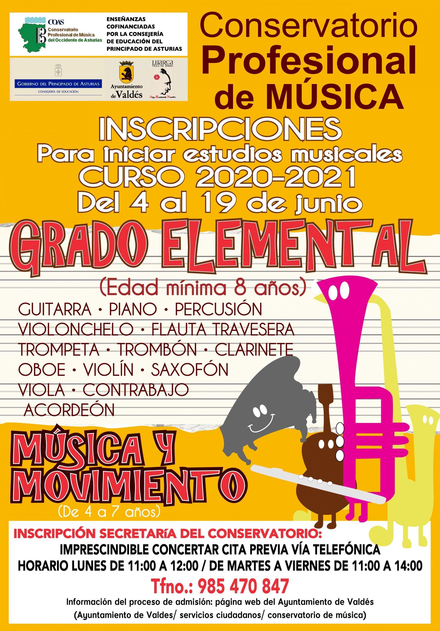 Se abre el plazo de inscripción y matrícula en el Conservatorio de Música del Occidente (Valdés)