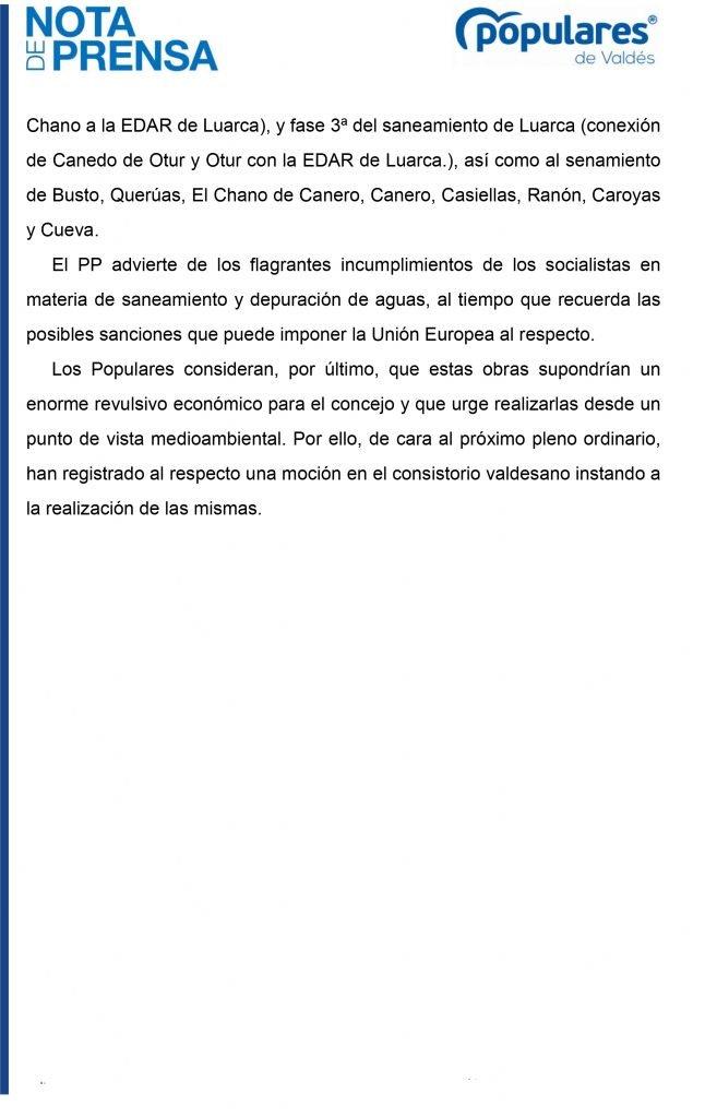 """El PP de Valdés denuncia """"retrasos"""" de los gobiernos regional y nacional respecto a los sistemas de saneamiento del concejo"""