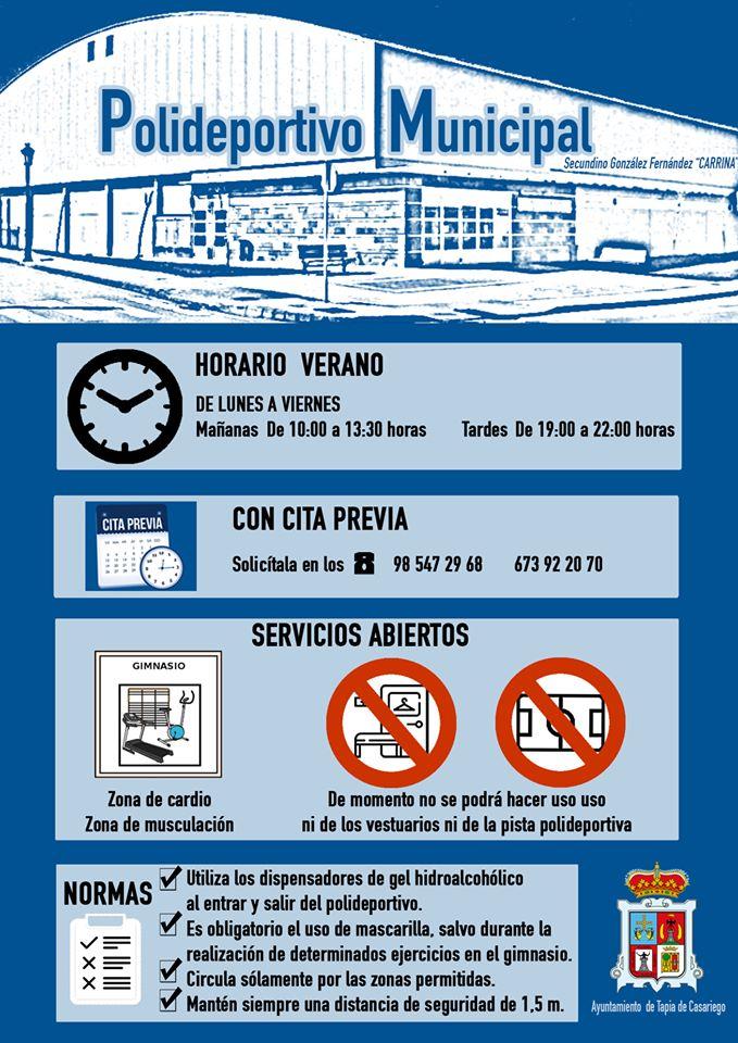 Horario de Verano del Polideportivo Municipal de Tapia donde solo se podrá hacer uso del Gimnasio