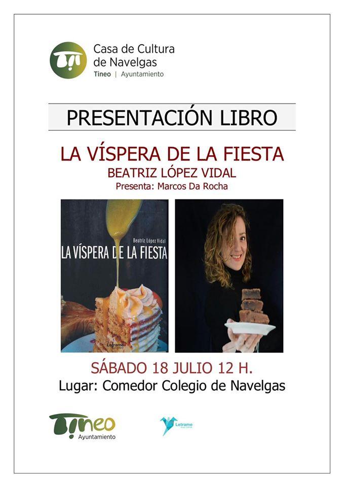 """El sábado tendrá lugar en Navelgas la presentación del libro """"La víspera de la fiesta"""", de Beatriz López Vidal."""