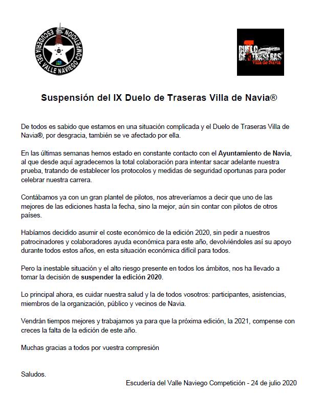 El Duelo de Traseras Villa de Navia 2020 también se cancela