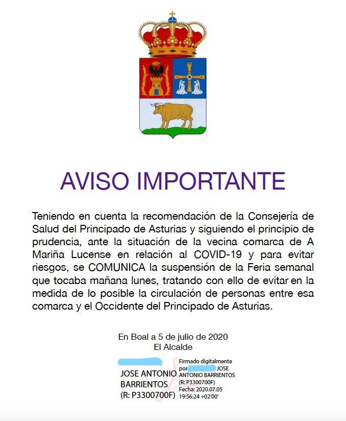 En suspenso los mercados semanales de Tapia, El Franco, Boal y Vegadeo