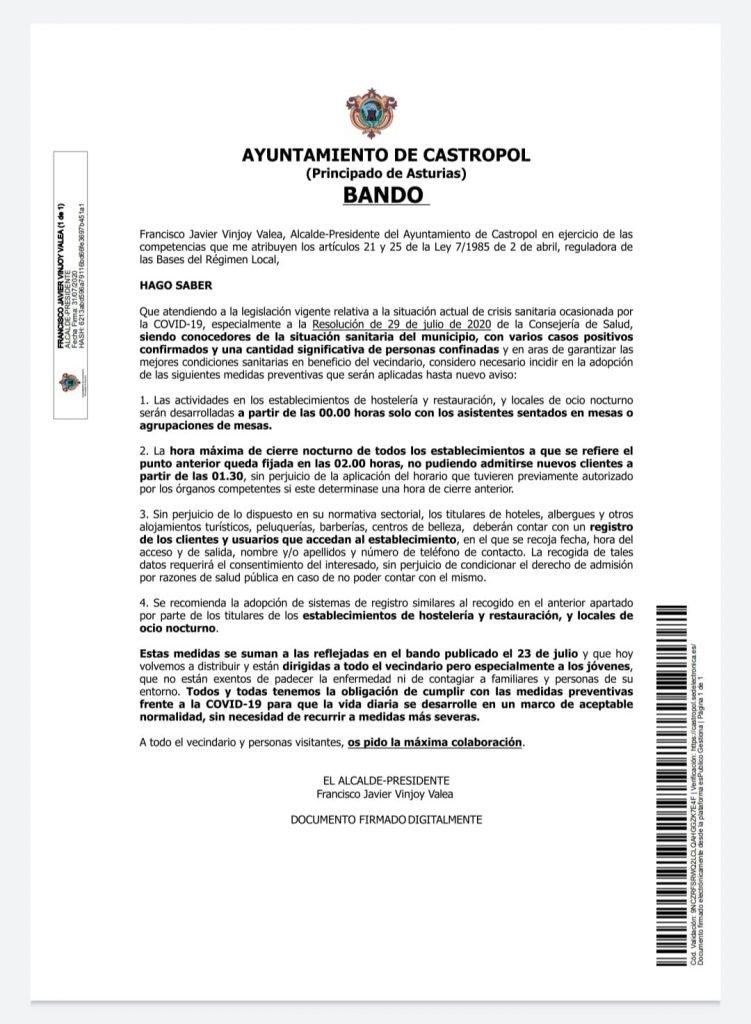 Castropol edita un Bando recordando las medidas en vigor para prevenir el coronavirus