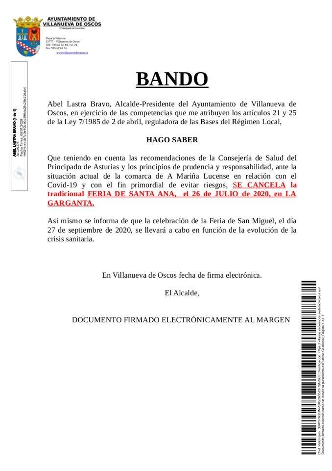 Villanueva de Oscos cancela la Feria de Santa Ana (La Garganta)