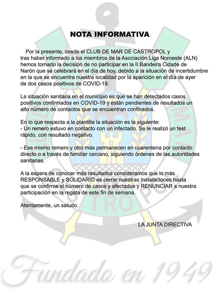 Castropol no participó esta tarde en la Bandera de Narón de Traineras por los positivos de la Covid 19 en el Municipio Castropolense