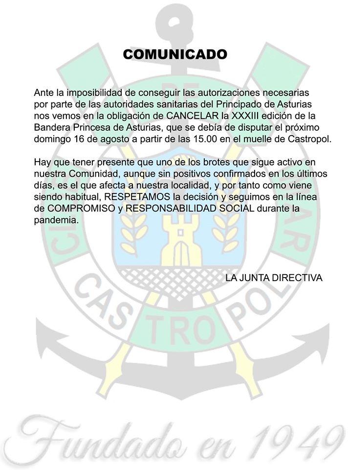 Cancelada la XXXIII Bandera Princesa de Asturias de Traineras prevista para el próximo domingo en Castropol