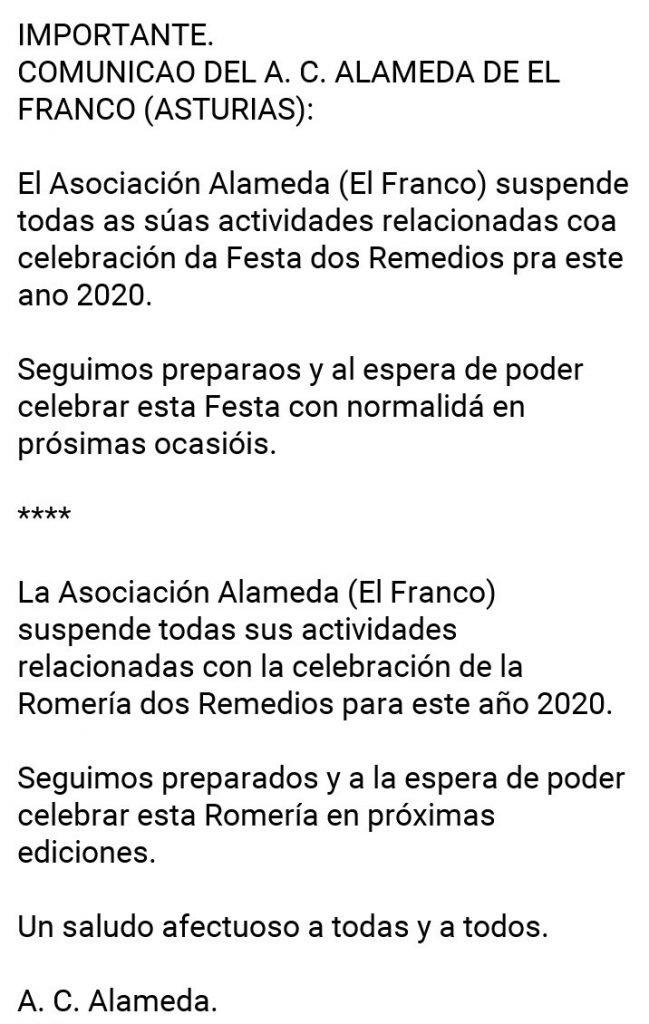 El Asociación Alameda suspende todas as actividades relacionadas con á Festa dos Remedios 2020