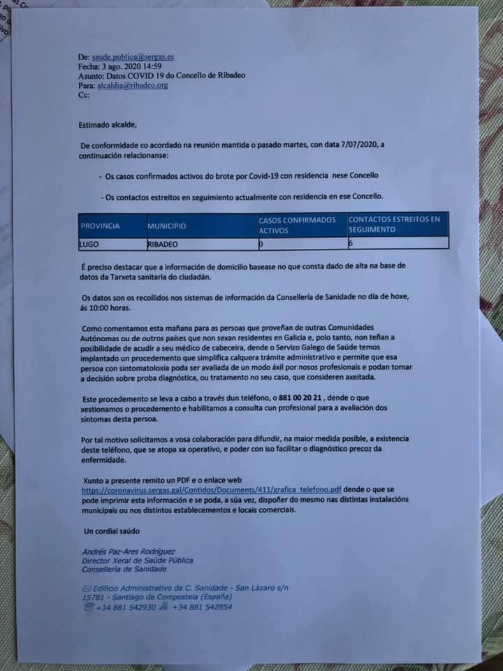 Ya no hay positivos por coronavirus en Ribadeo