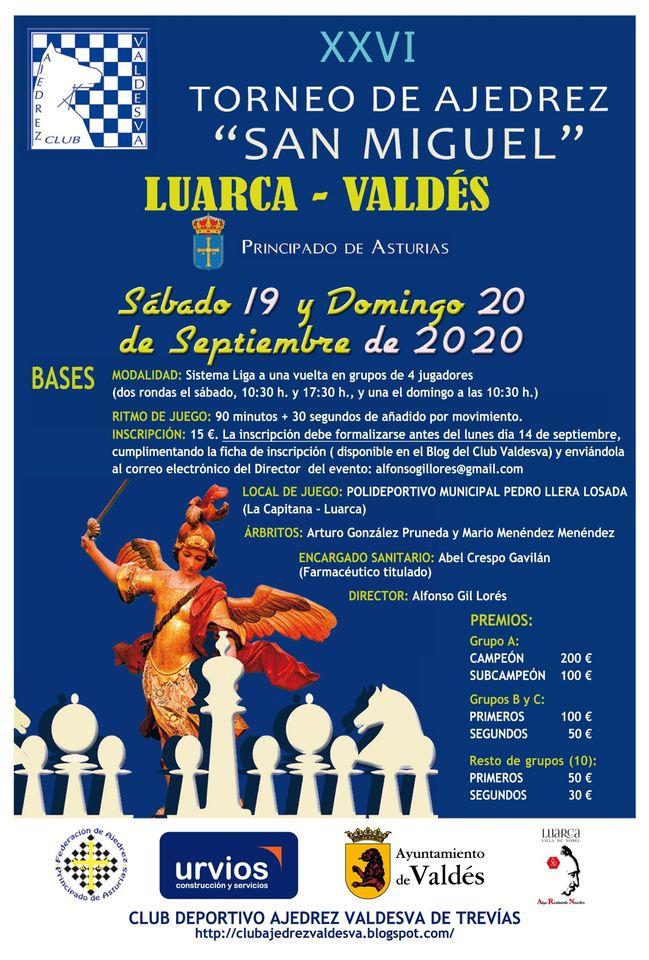 """XXVI Torneo de Ajedrez """"San Miguel"""" este fin de semana en el Polideportivo de Luarca"""