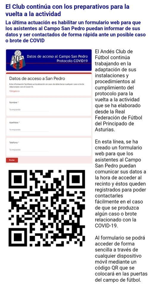 El Andés CF crea un formulario Web para registrar los datos de los asistentes a San Pedro por si se produce un brote de covid