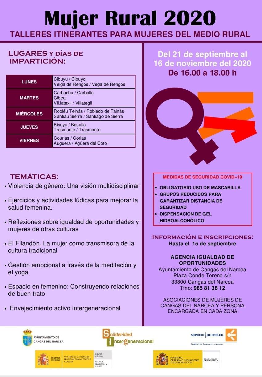 Abierta la inscripción para los talleres de Mujer Rural 2020 en Cangas del Narcea