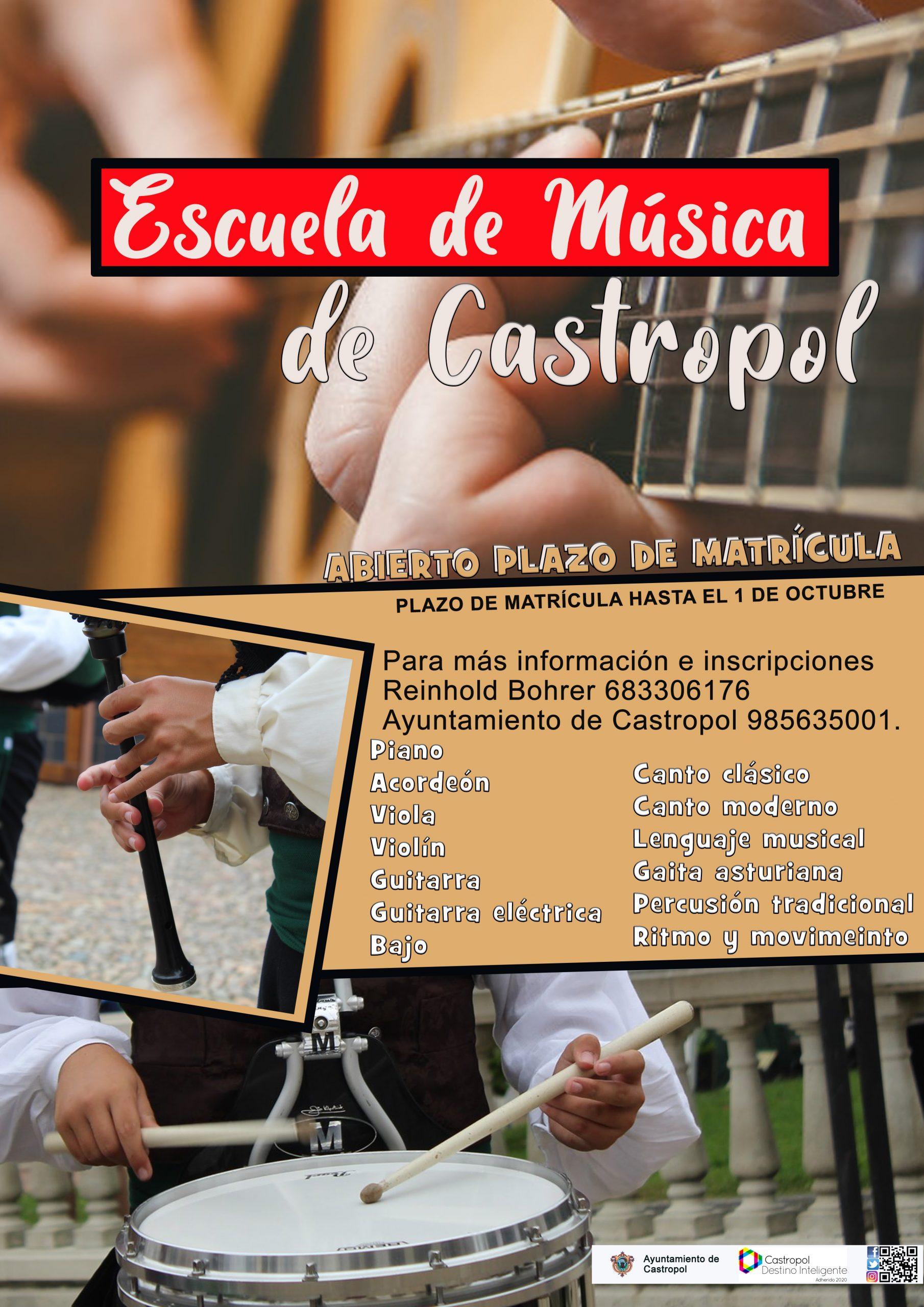 Abierto el plazo de matrícula de la Escuela de Música de Castropol.