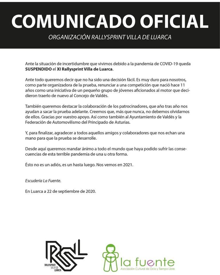 Cancelado el XI Rallysprint Villa de Luarca previsto para el sábado 31 de octubre
