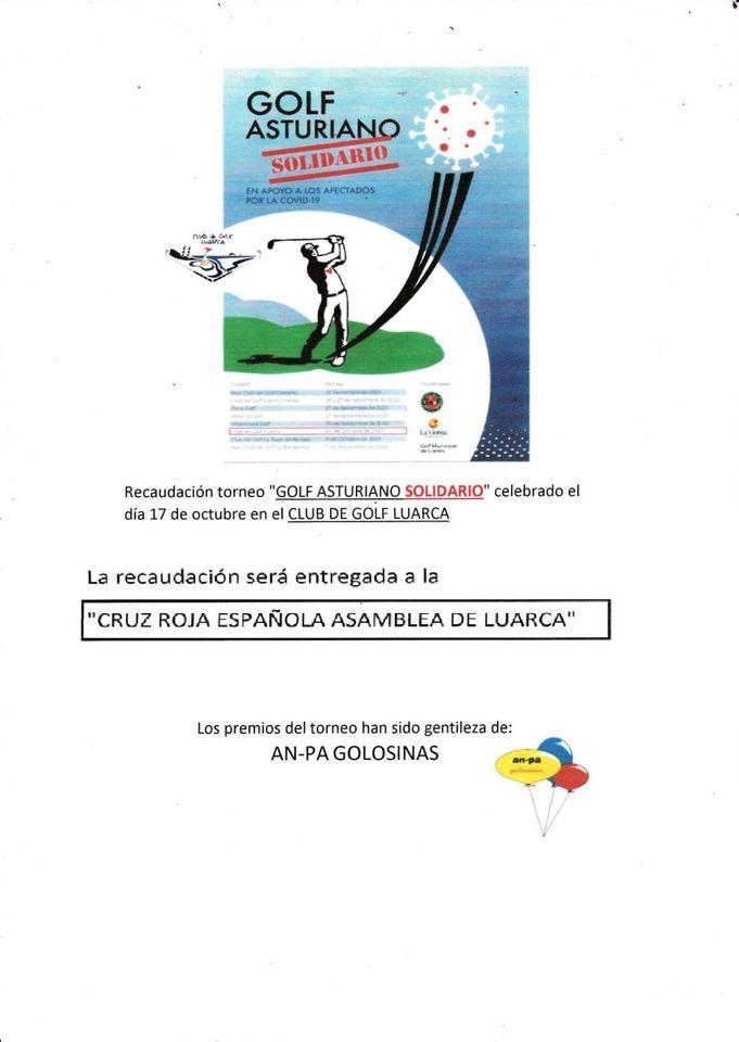 """El Club Golf Luarca dona la recaudación del """"Torneo Golf Asturiano Solidario"""" a la Asamblea Local de Cruz Roja"""