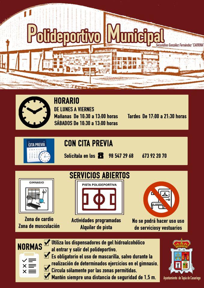 Nuevos Horarios en el Polideportivo Municipal de Tapia