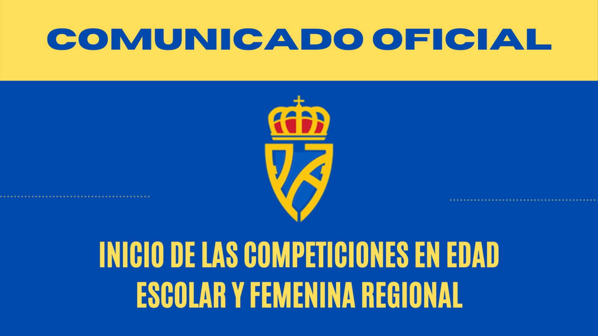 La RFFPA confirma en un Comunicado que no es posible el inicio de las Competiciones en Edad Escolar y que se aplaza el inicio de la Liga Femenino Regional