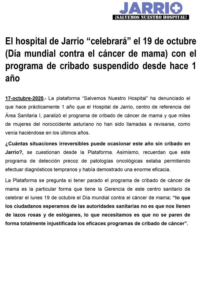 La Plataforma Jarrio Salvemos Nuestro Hospital denuncia la suspensión del programa de cribado de cáncer de mama en el Área Sanitaria I hace un año