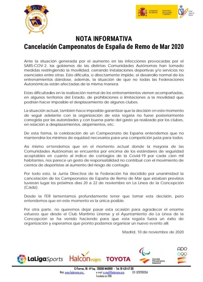 La FER cancela el Campeonato de España de Remo previsto para el próximo fin de semana
