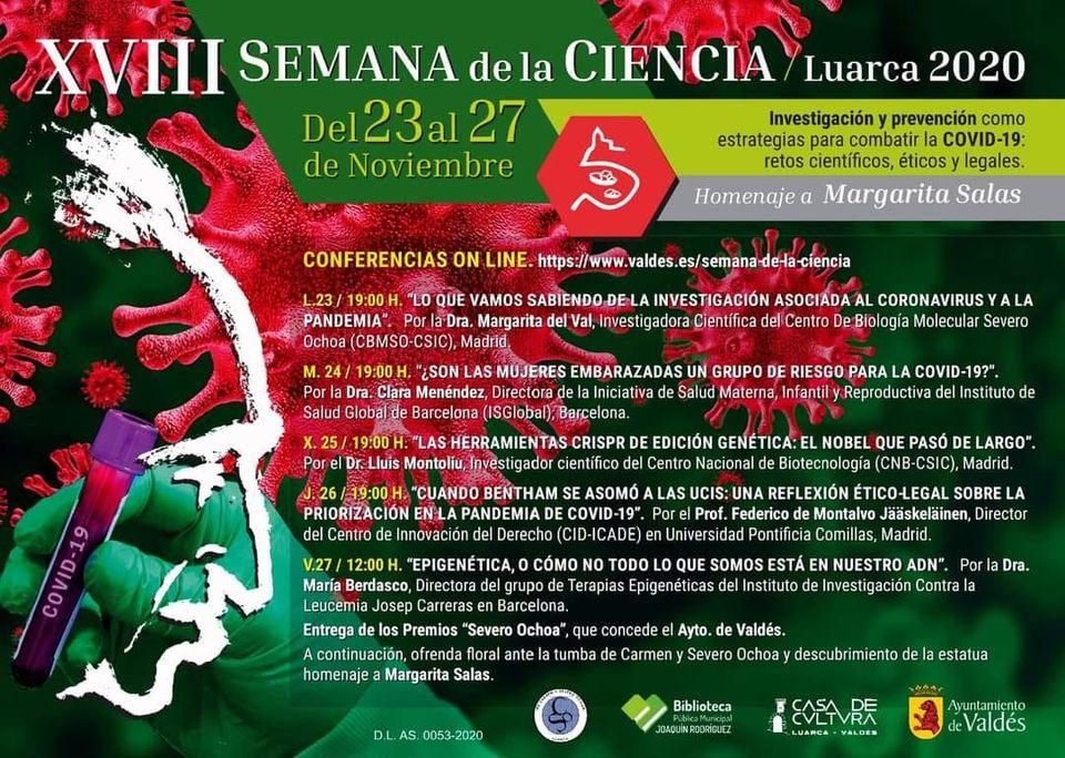 El Ayuntamiento de Valdés presenta la XVIII Semana de la Ciencia de Luarca que tendrá lugar del lunes 23 al viernes 27 de noviembre.