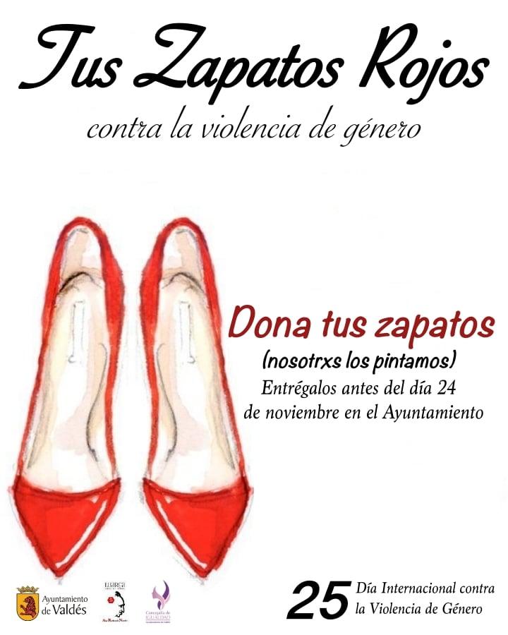"""La Concejalía de Igualdad del Ayuntamiento de Valdés, este año, ha desarrollado la campaña """"Tus zapatos rojos, contra la violencia de género"""""""