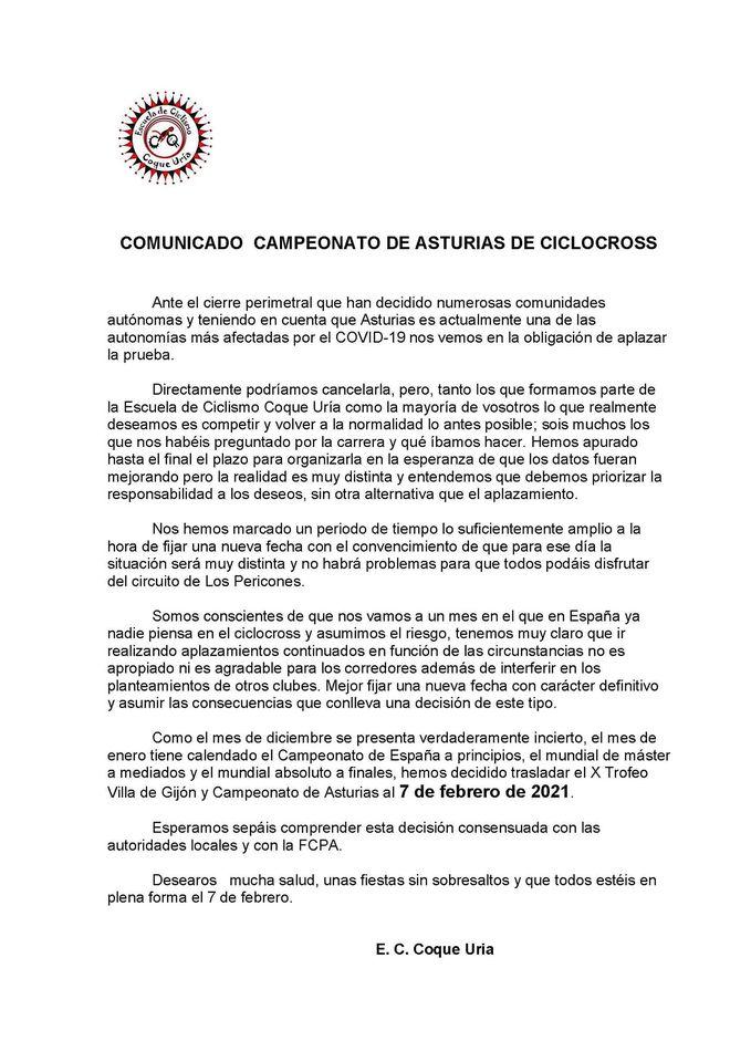 Aplazado hasta Febrero el Campeonato de Asturias de Ciclo-Cross previsto para el 5 de Diciembre