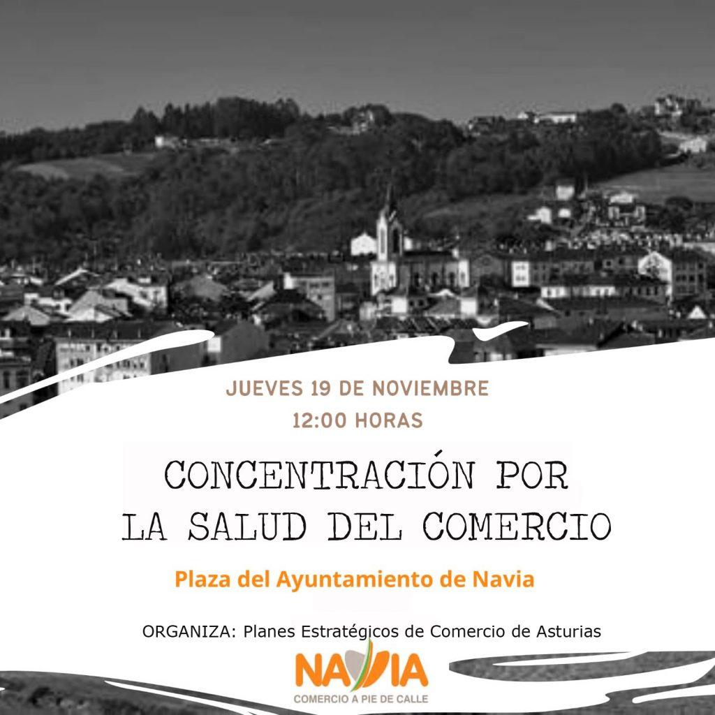 En Navia, un centenar de personas participa en la Concentración por la Salud del Comercio