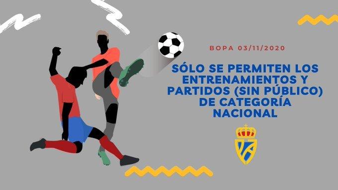 """RFFPA: """"BOPA 03/11/2020: Sólo se permiten entrenamientos y partidos de categoría NACIONAL"""""""