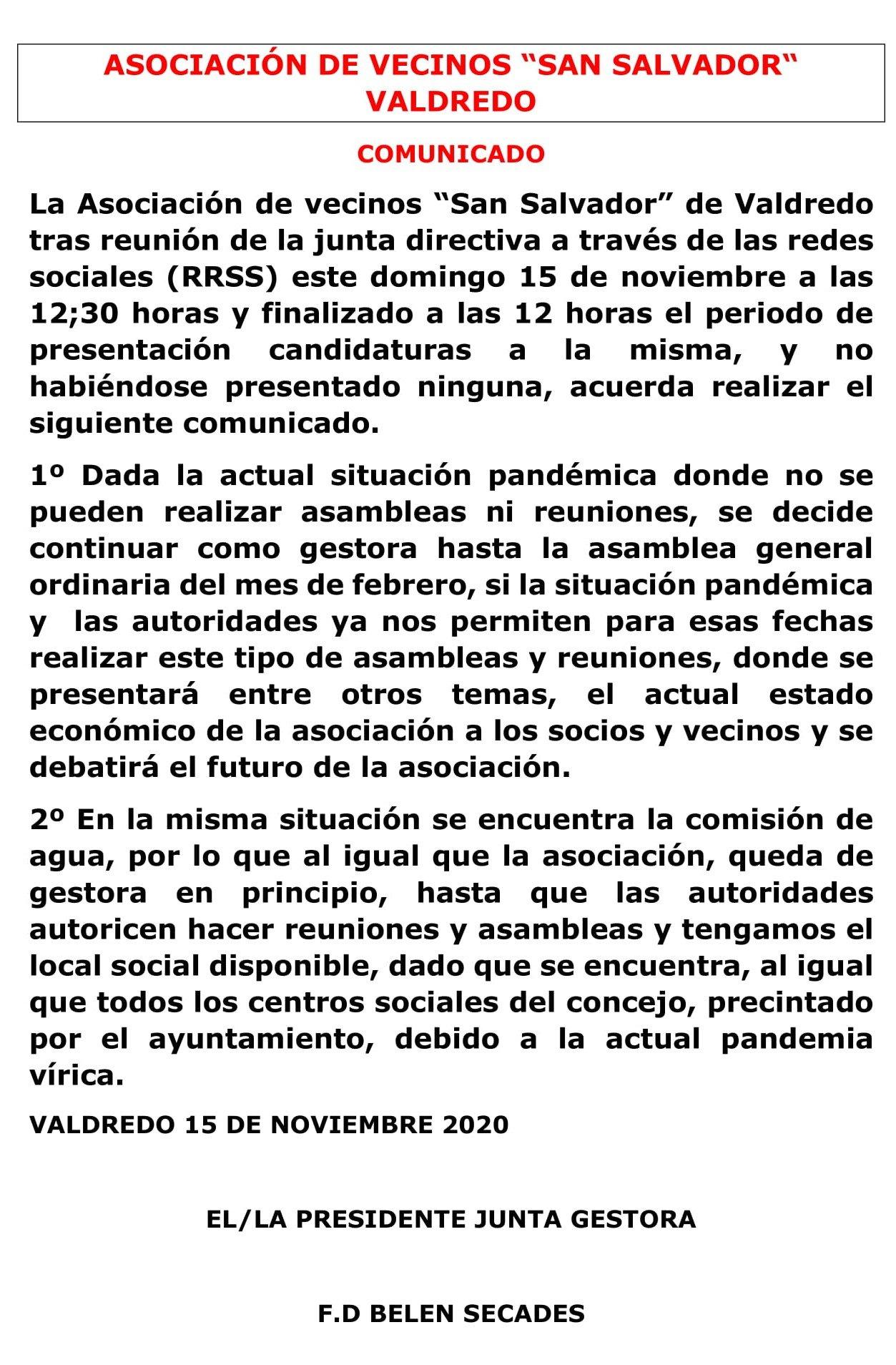 Comunicado Asociación de Vecinos de Valdredo (Cudillero) sobre Elecciones Presidencia