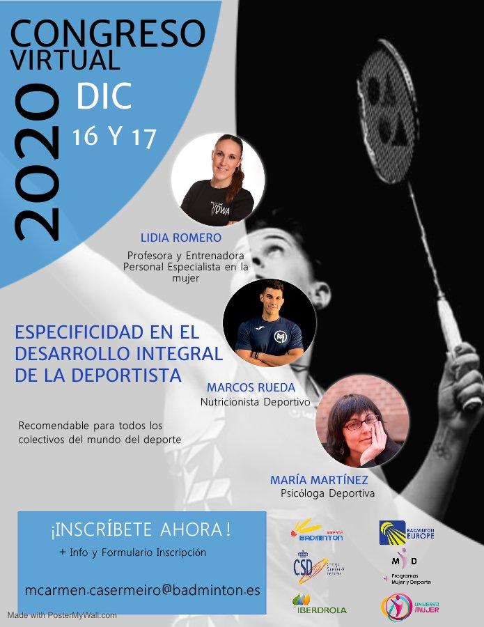 El Congreso Virtual para el desarrollo integral de la deportista llega al bádminton nacional por Navidad