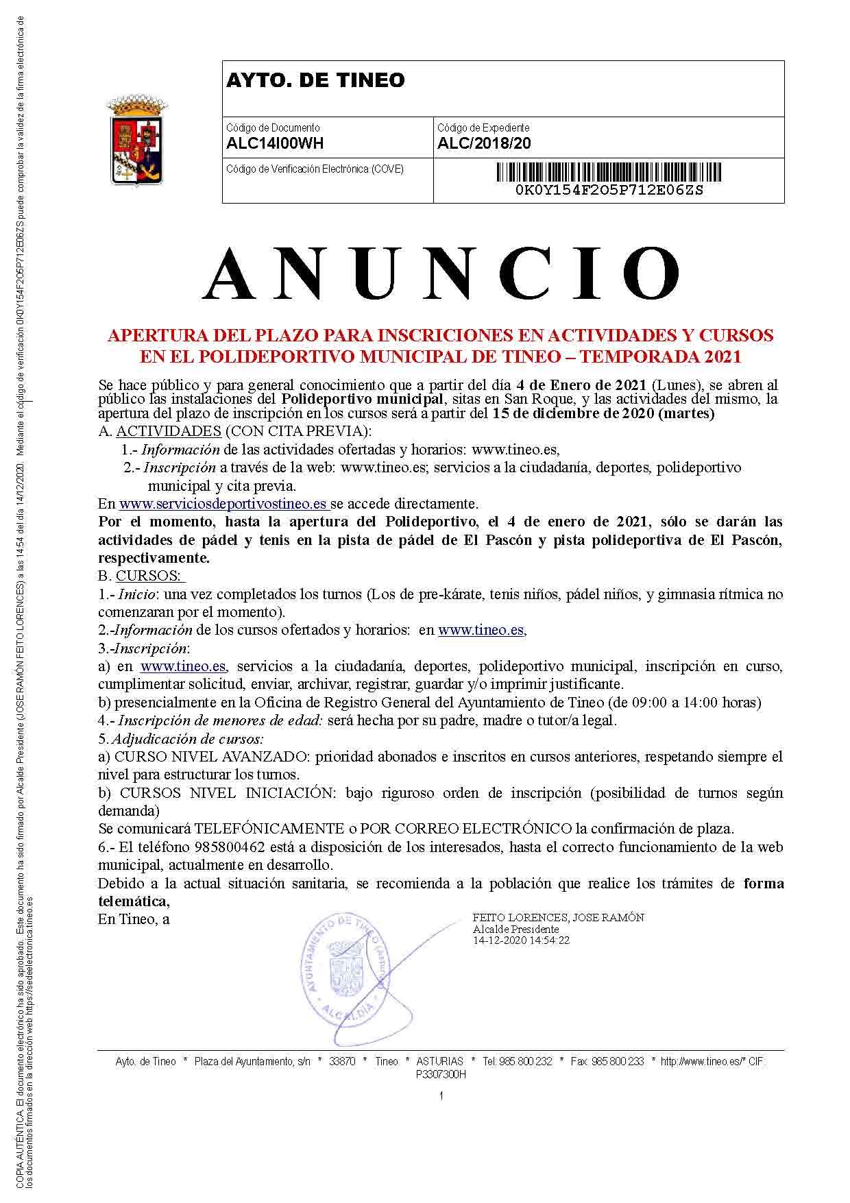 Apertura del plazo de inscripciones para actividades y cursos en el Polideportivo municipal de Tineo.