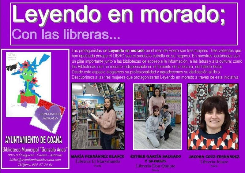 """""""Leyendo en Morado"""", dedicado a tres libreras de la comarca"""