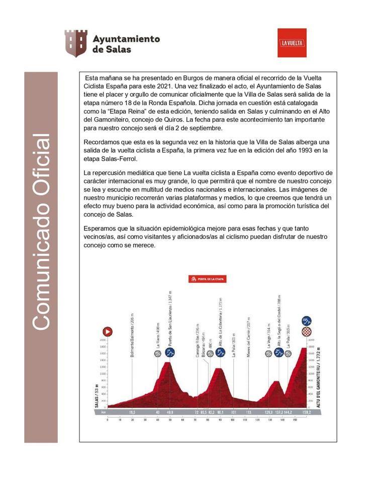 Salas acogerá la salida de la etapa reina de la Vuelta Ciclista a España 2021