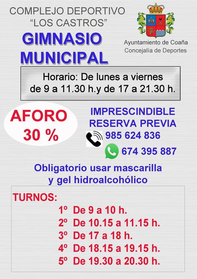 El Gimnasio Municipal de Coaña continúa con su actividad