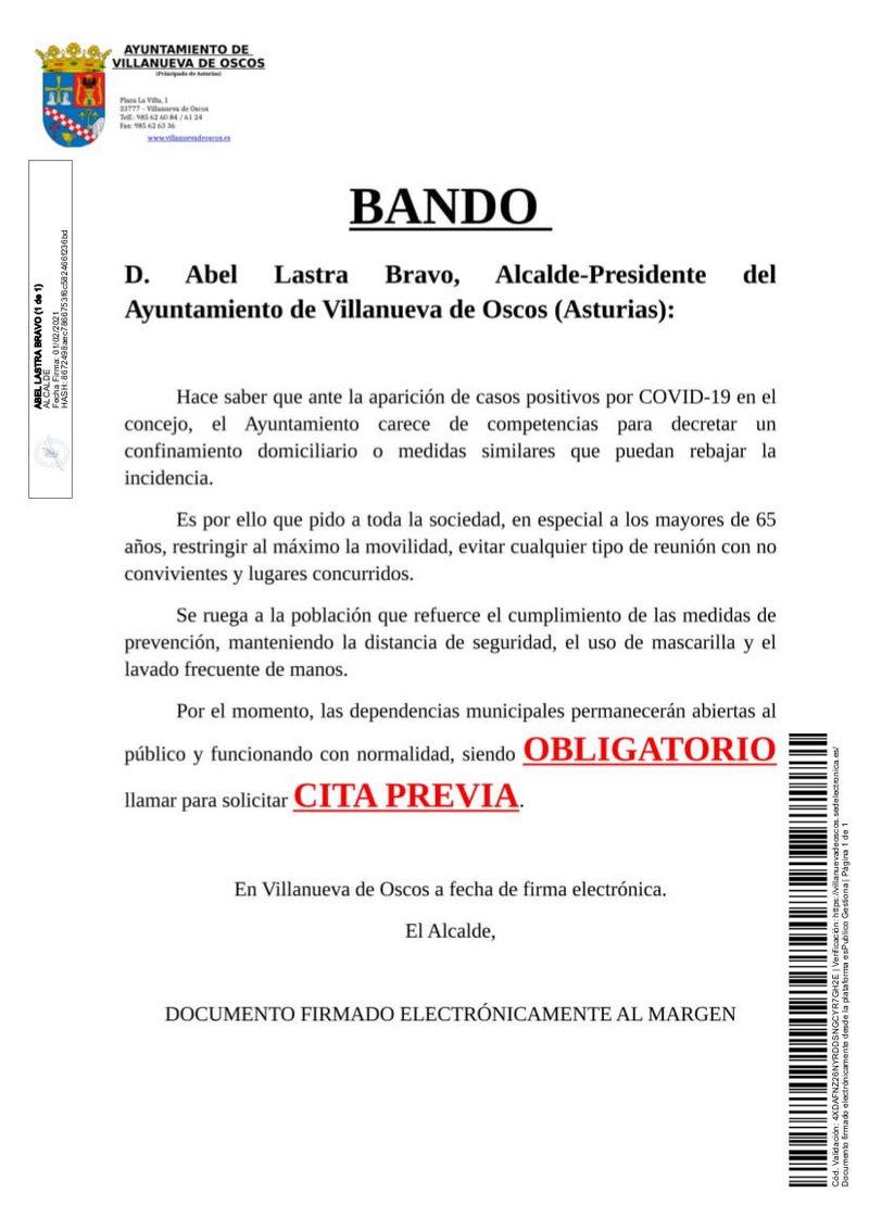 El alcalde de Villanueva de Oscos pide que se extremen las precauciones ante la aparición de los primeros casos de coronavirus