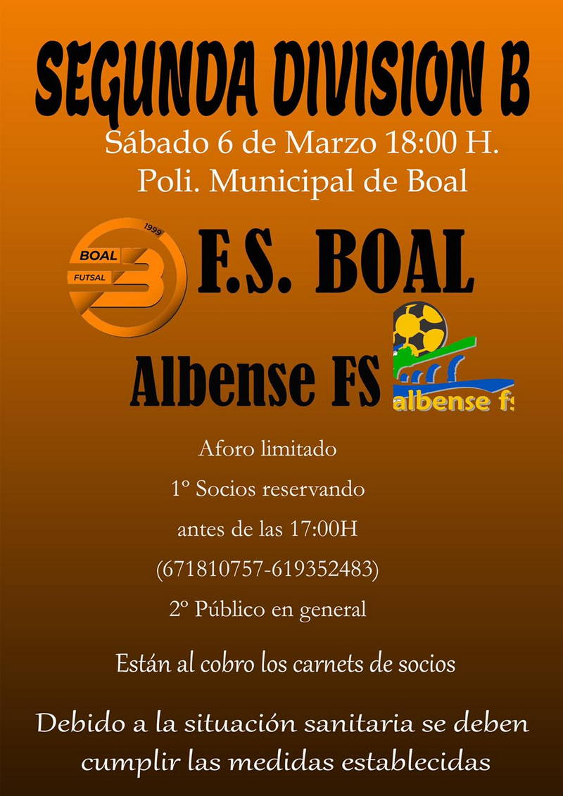 Boal FS disputa este sábado el partido aplazado ante el Albense