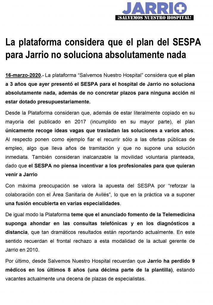 """La Plataforma """"Jarrio Salvemos Nuestro Hospital"""" considera que el plan del SESPA para Jarrio no soluciona absolutamente nada"""