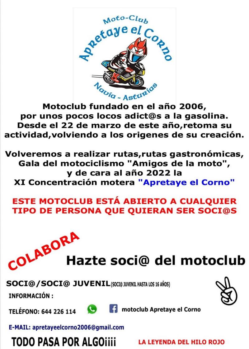 """El Moto-Club Naviego """"Aprétaye el Corno"""" retoma la actividad"""