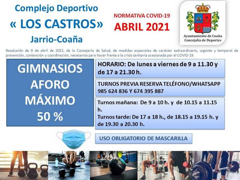 El Gimnasio Municipal de Coaña amplia su aforo a un 50%