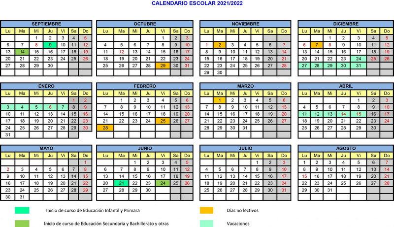 Aprobado el calendario escolar para el curso 2021-2022