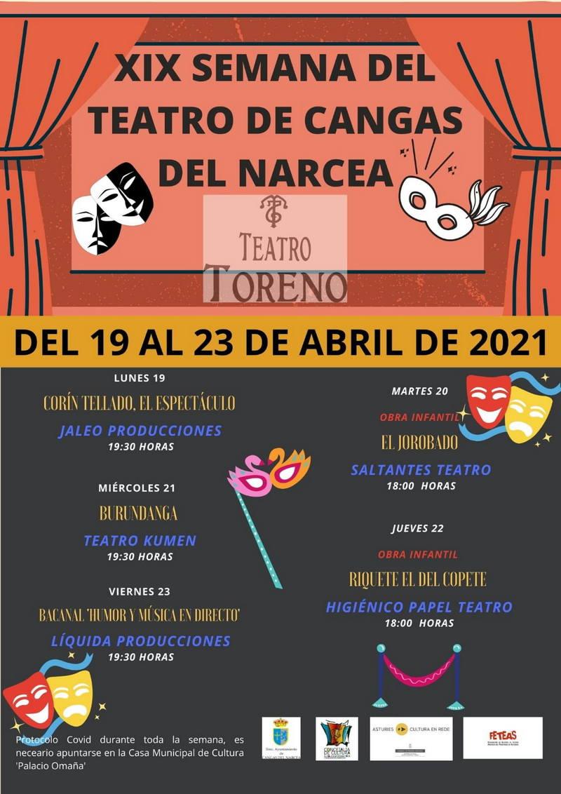 Cangas del Narcea celebra su XIX Semana del Teatro del 19 al 23 de abril con cinco espectáculos