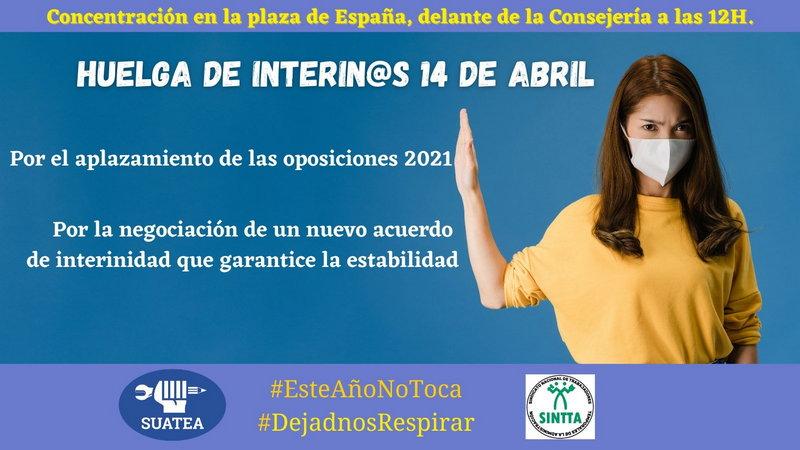 SUATEA y SINTTA convocar a la HUELGA a todo el profesorado interino de Asturias el próximo 14 de abril
