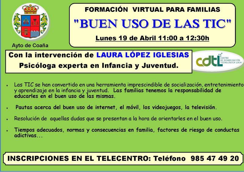"""Taller virtual y gratuito dirigido a familias sobre el """"Buen uso de las TIC"""""""