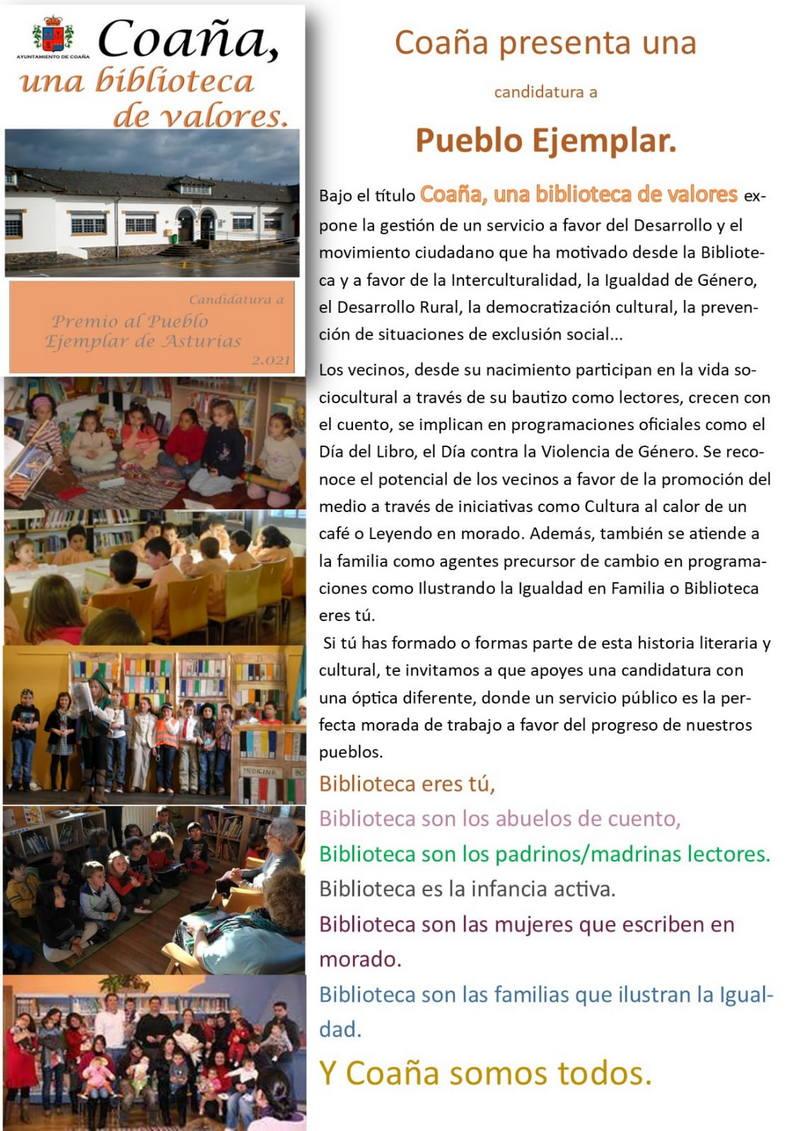 """Coaña presentará la candidatura """"Coaña, una biblioteca de valores"""" al Premio Pueblo Ejemplar de Asturias 2021"""