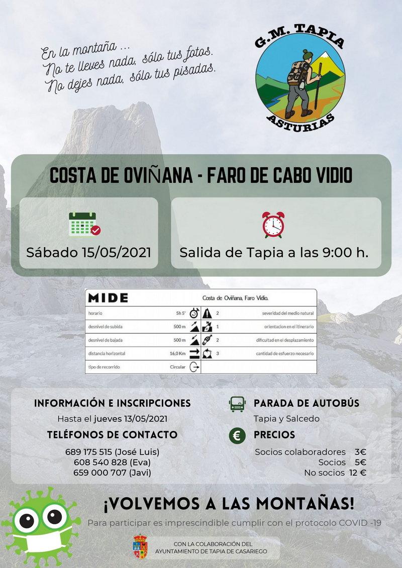 El Grupo de Montaña de Tapia realizará el sábado la Ruta Costa Oviñana-Faro Cabo Vidio