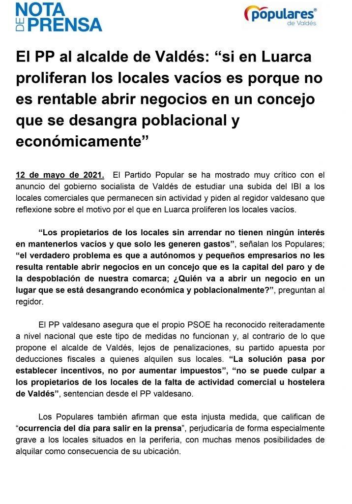 """Carlos López (PP Valdés): """"No se puede culpar a los propietarios de los locales de la falta de actividad comercial u hostelera"""""""