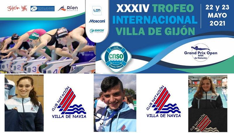 Buena actuación de los nadadores junior del Villa de Navia en el prestigioso Trofeo Villa de Gijón