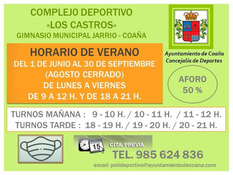 """Horario de Verano en el Complejo Deportivo """"Los Castros de Coaña"""""""