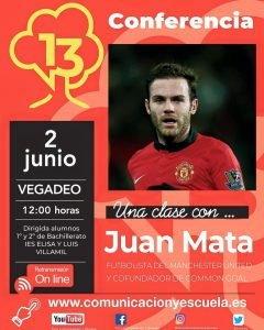 El jugador Mata del Manchester United protagonista en el día de hoy del Foro Comunicación y Escuela de Vegadeo