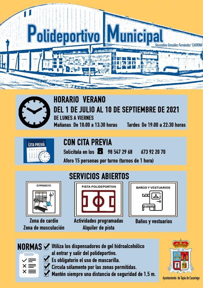Horario de Verano del Polideportivo Municipal de Tapia (1 de julio al 10 de septiembre)